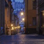 Una delle tipiche vie nella zona più antica di Stoccolma.