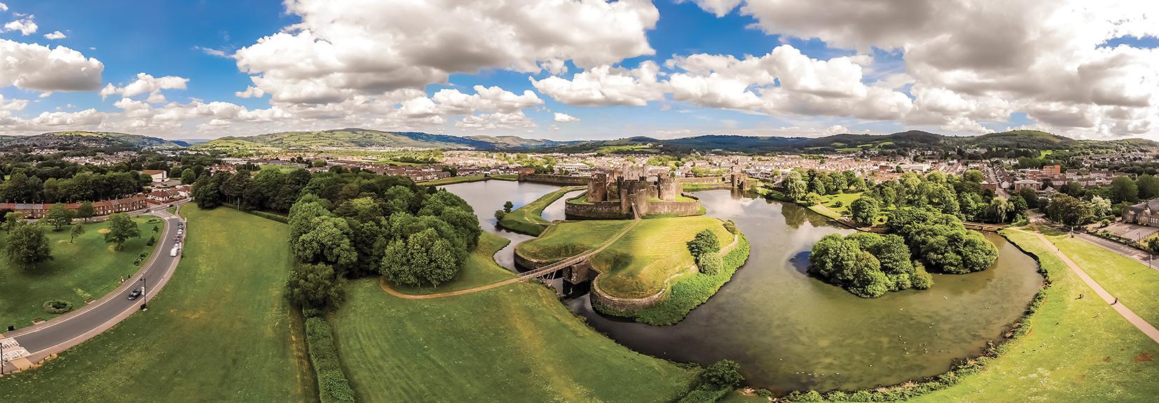 Vista panoramica del Castello di Caerphilly.