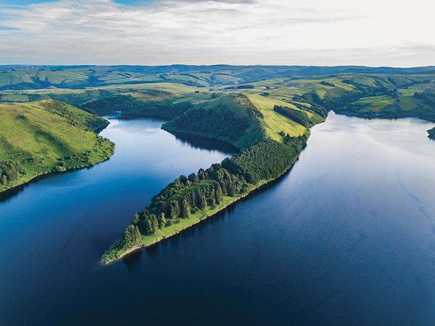 Uno scorcio dello splendido Lago di Clywedog.