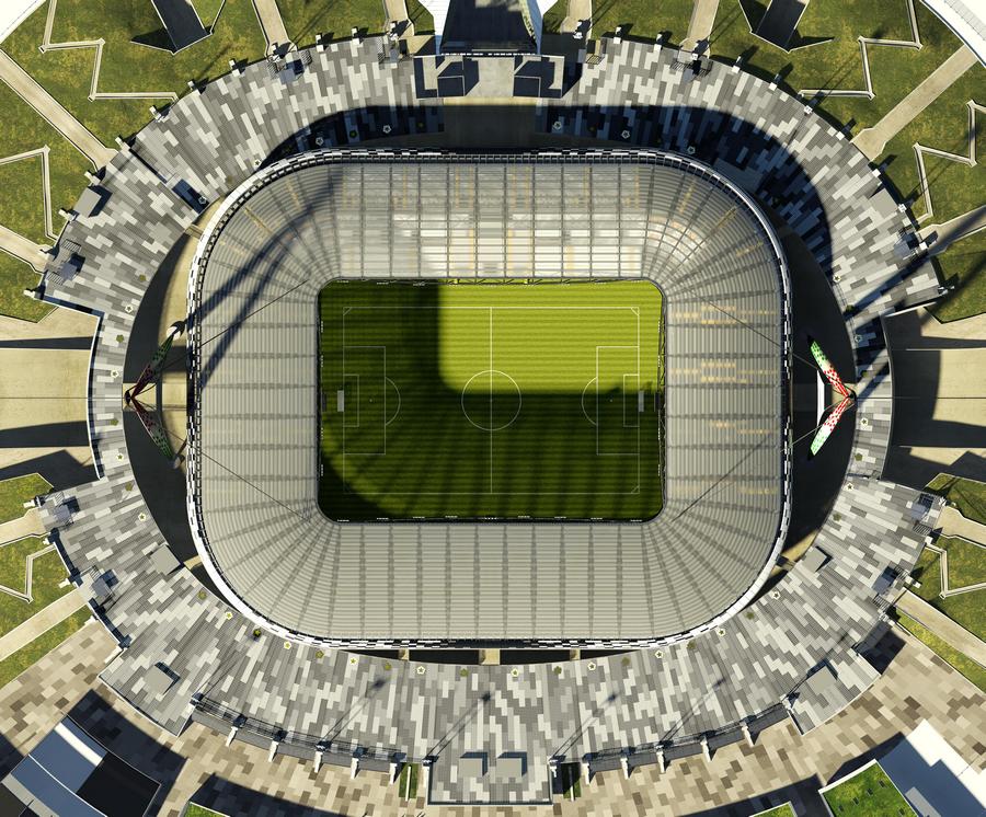 Vista aerea dell'Allianz Stadium di Torino.